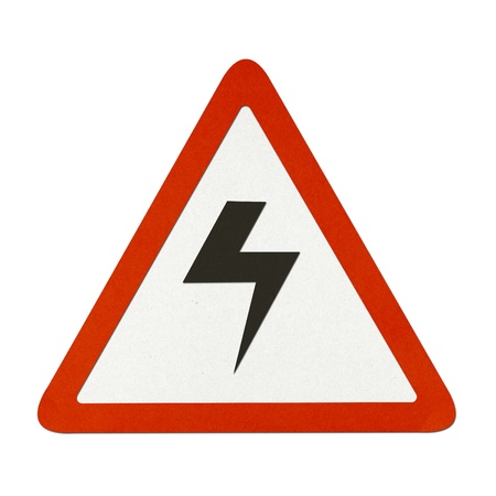 Danger High Voltage traffic sign recycled paper on white background. photo