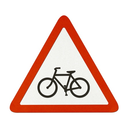 Bike Lane traffic sign recycled paper on white background. photo