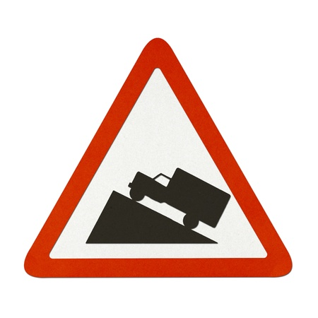 ascent: Steep Hill Ascent traffic sign recycled paper on white background. Stock Photo