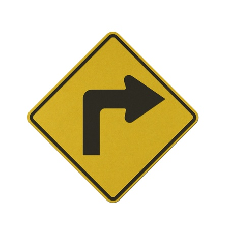 Turn Right traffic sign recycled paper on white background. Stock Photo