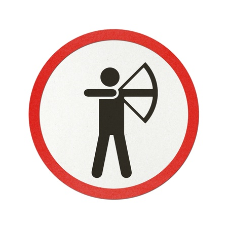 Archery traffic sign recycled paper on white background.