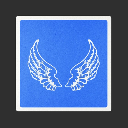 Angel wings traffic sign recycled paper on white background. Stock Photo - 11924372