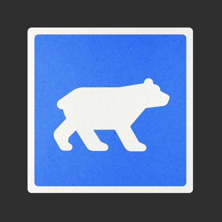 Bear traffic sign recycled paper on white background. Stock Photo - 11923776