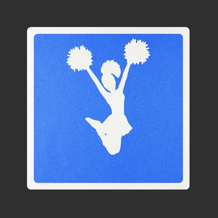 Cheerleader traffic sign recycled paper on white background.