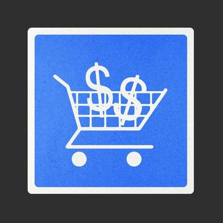 Shopping Cart traffic sign recycled paper on white background. photo