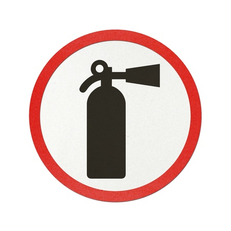Fire extinguisher traffic sign recycled paper on white background.
