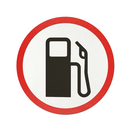 Gas station traffic sign recycled paper on white background. Stock Photo - 11923336