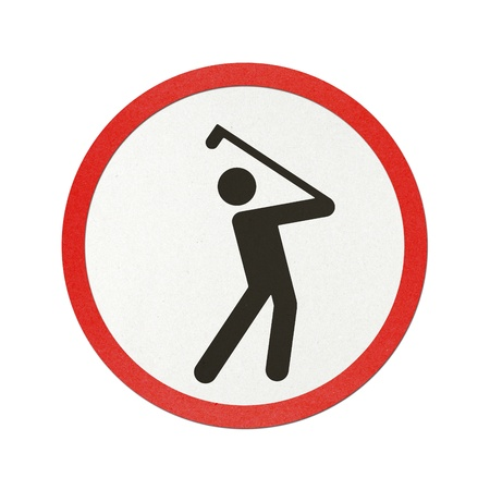 go sign: Golf Course traffic sign recycled paper on white background.