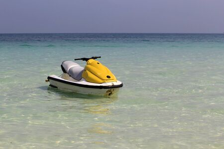 Jet ski moored at sea.