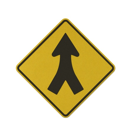 Merging traffic left and right traffic sign recycled paper on white background.