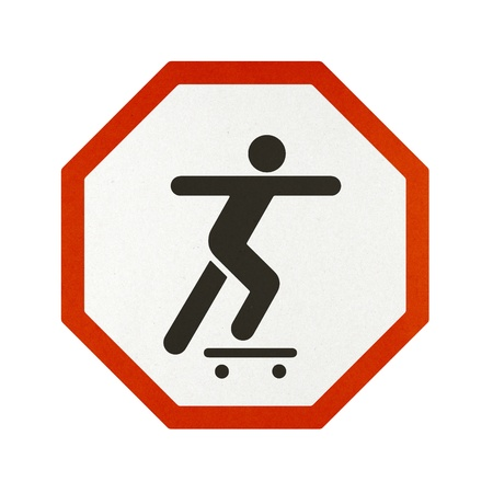 Skateboard traffic sign recycled paper on white background. Stock Photo - 11923138