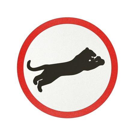 Panther traffic sign recycled paper on white background. photo