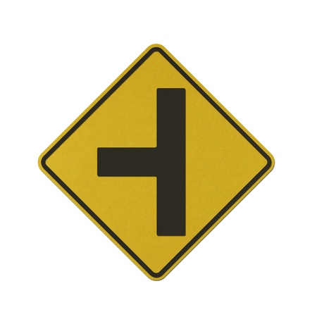 uncontrolled: Side road junction uncontrolled on left traffic sign recycled paper on white background.