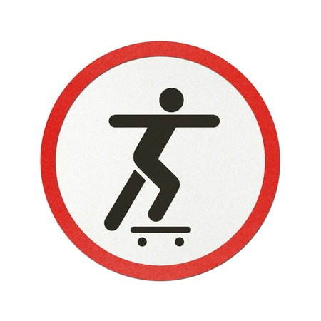 Skateboard traffic sign recycled paper on white background. Stock Photo - 11923515