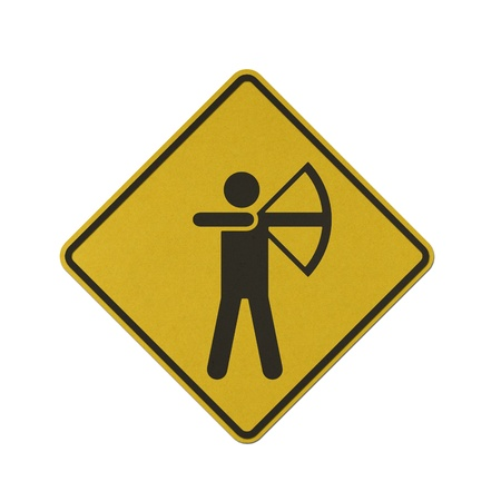 Archery traffic sign recycled paper on white background. photo