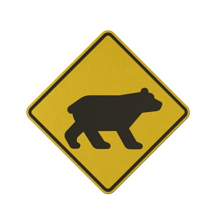 Bear traffic sign recycled paper on white background. Stock Photo - 11921322