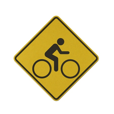 Bike traffic sign recycled paper on white background.
