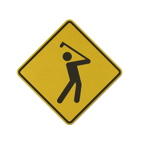 Golf Course traffic sign recycled paper on white background.