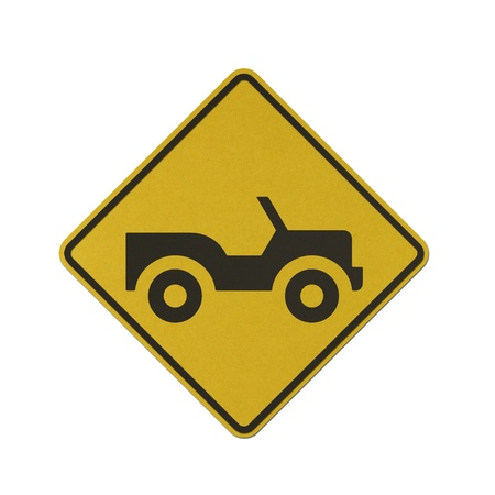 Jeep traffic sign recycled paper on white background.