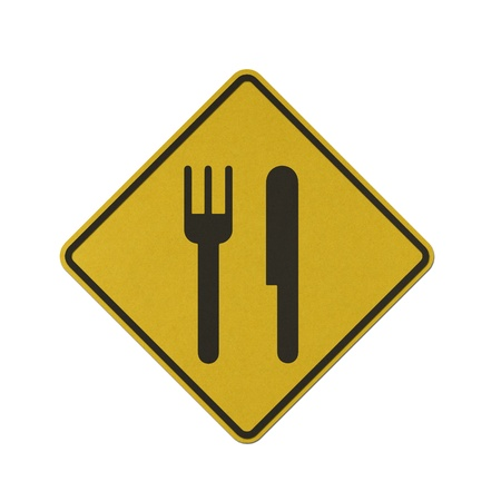 Restaurant traffic sign recycled paper on white background.