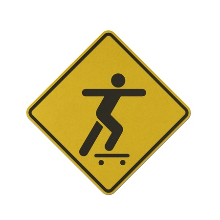 Skateboard traffic sign recycled paper on white background. Stock Photo - 11921619