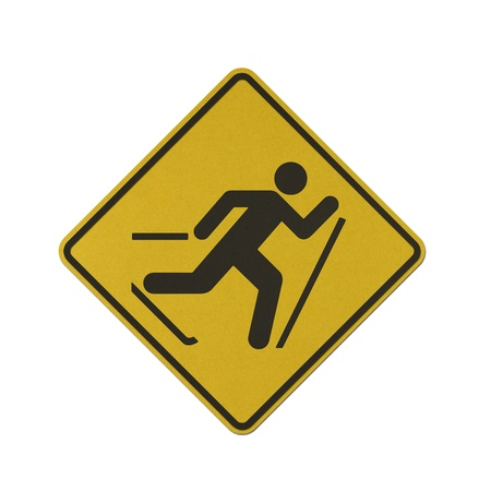Ski area traffic sign recycled paper on white background. Stock Photo
