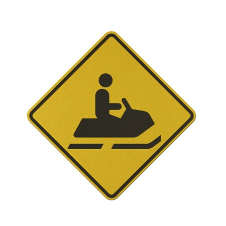 Snowmobile traffic sign recycled paper on white background.