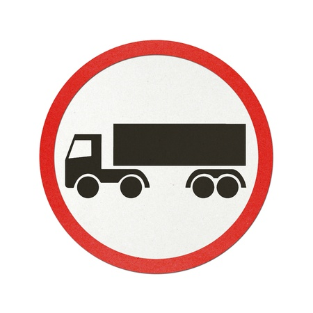 Truck traffic sign recycled paper on white background.