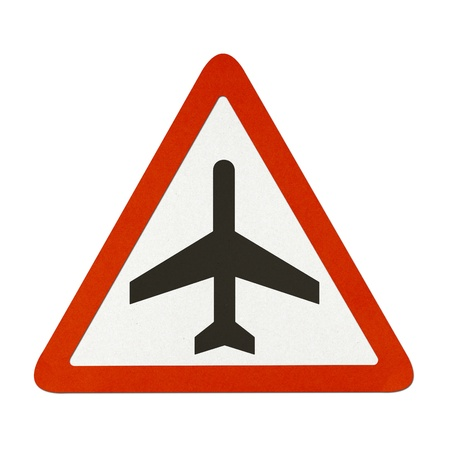 Air traffic sign recycled paper on white background. photo