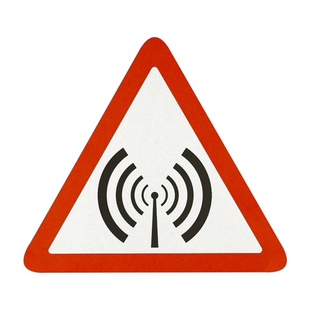 Antenna and radio waves traffic sign recycled paper on white background.