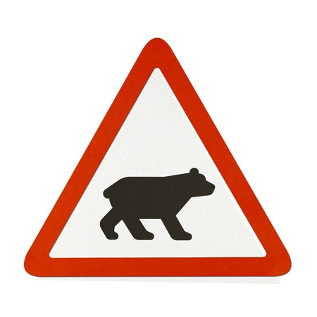 Bear traffic sign recycled paper on white background. Stock Photo - 11922587
