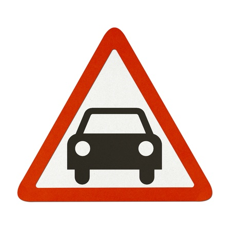 Car traffic sign recycled paper on white background. Stock Photo