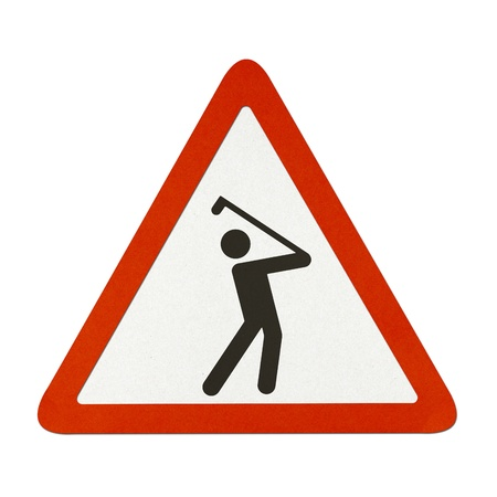 Golf Course traffic sign recycled paper on white background. photo