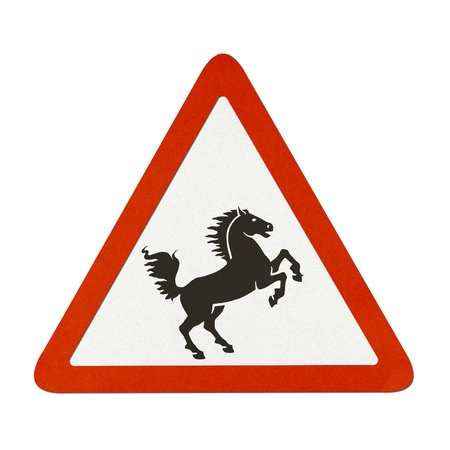 Horse traffic sign recycled paper on white background. photo