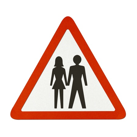 Man and woman icon traffic sign recycled paper on white background.