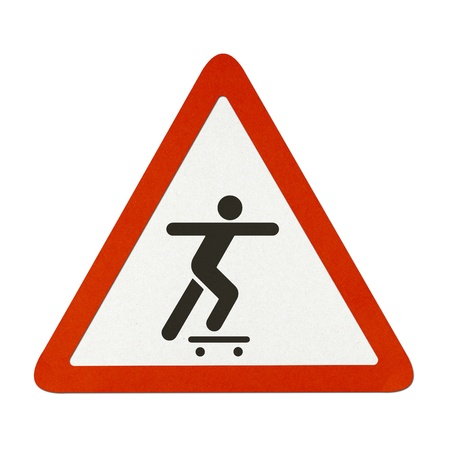 Skateboard traffic sign recycled paper on white background. photo