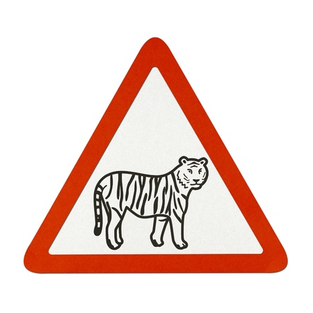Tiger traffic sign recycled paper on white background.