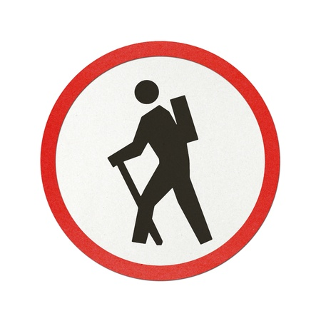 Wanderer traffic sign recycled paper on white background. Stock Photo