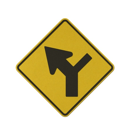 Y junction controlled on right traffic sign recycled paper on white background. Stock Photo