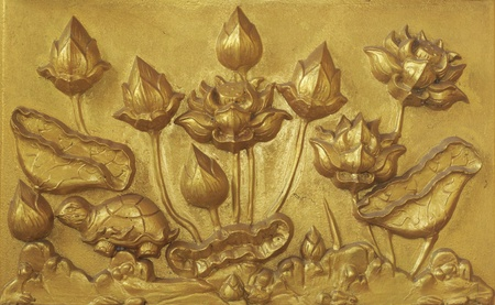 Carving on the wall at Wat Paknam Joelo in Chachoengsao province at thailand. Stock Photo - 13488077