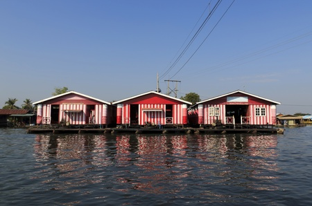 Floating house on the Kwai river Kanjanburi, Thailand