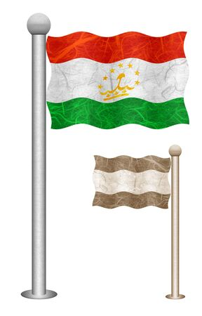 Tajikistan flag waving on the wind. Flags of countries in Asia. Mulberry paper on white background. Stock Photo