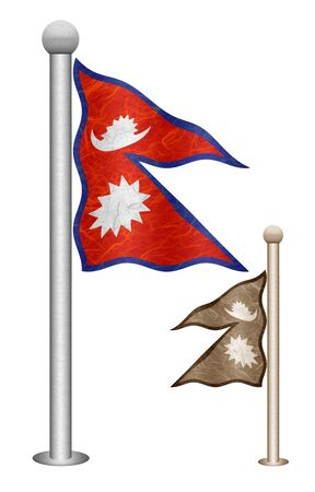 Nepal flag waving on the wind. Flags of countries in Asia. Mulberry paper on white background.
