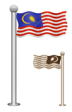 Malaysia flag waving on the wind. Flags of countries in Asia. Mulberry paper on white background. Stock Photo - 13487998