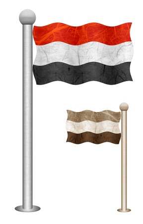 Yemen flag waving on the wind. Flags of countries in Asia. Mulberry paper on white background.