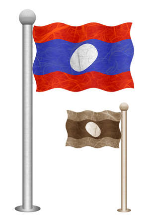 Laos flag waving on the wind. Flags of countries in Asia. Mulberry paper on white background.