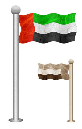 United Arab flag waving on the wind. Flags of countries in Asia. Mulberry paper on white background.