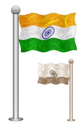 India flag waving on the wind. Flags of countries in Asia. Mulberry paper on white background.