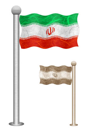 Iran flag waving on the wind. Flags of countries in Asia. Mulberry paper on white background.