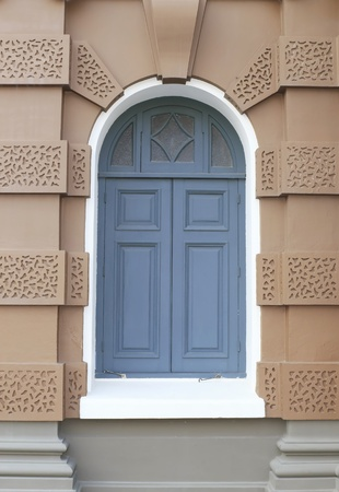 Blue door with brown wall on a new format. photo